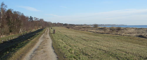 Laufen auf dem Deich in Marielyst, Dänemark
