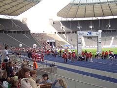 Das Ziel des 25-km-Laufs im Olympiastadion