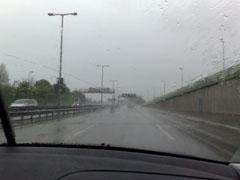 Anfahrt bei Regen