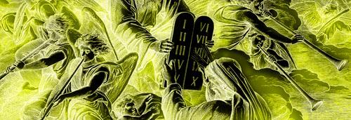 Die 10 Gebote - Die Übergabe (Detail aus einer Bibel-Illustration von Julius Schnorr von Carolsfeld)