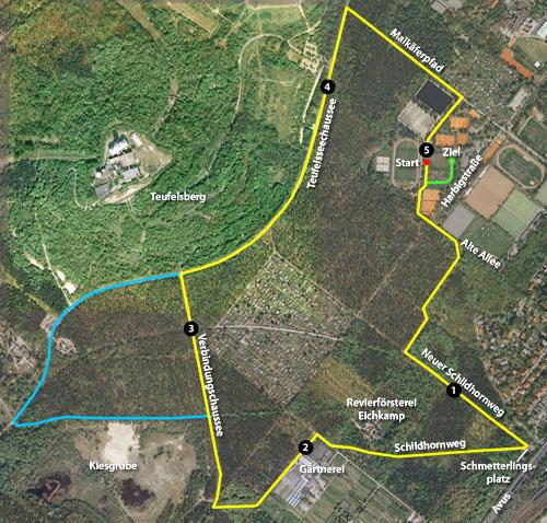 Plan von der Strecke der 16. Marathon-Staffel