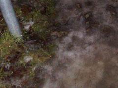 Rutschige Eisreste im Regen