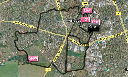 Karte mit Laufstrecke