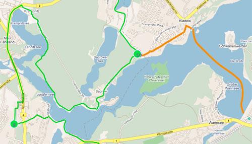 Mauerweg-Lauf Karte Wannsee