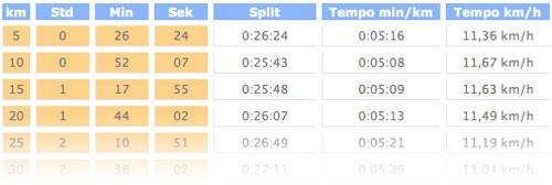Marathon-Rechner mit den berechneten Split-Zeiten und -Geschwindigkeiten