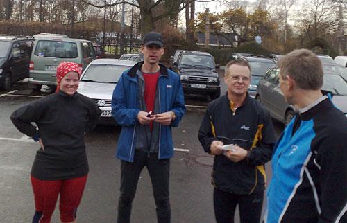 Läufer-Treffen auf dem Parkplatz