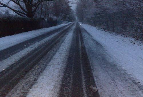 Schnee-Matsch am Diedersdorfer Weg