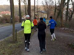 Die Läufer auf dem Anfangsteil der Strecke
