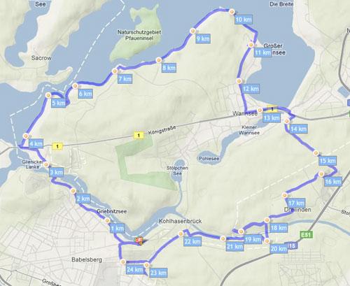 Karte der Laufstrecke