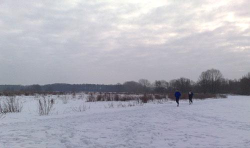 Läufer in Schnee-Landschaft