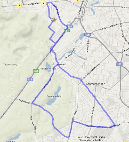 Karte vom Lauf