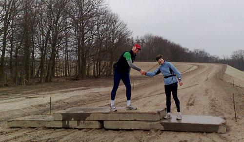 Läufer auf Steinplatten