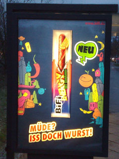 Plakat Müde - Iss doch Wurst