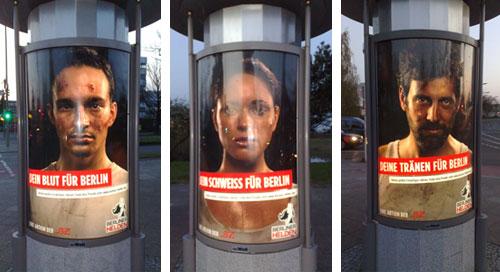 Plakate mit Motiven Blut, Schweiß und Tränen