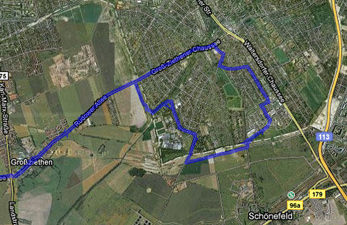Karte Lauf Großziethen-Rudow