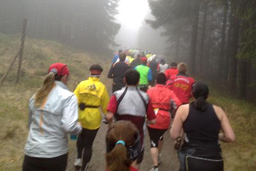 Läufer auf Steigung im Wald