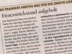 Zeitungsausschnitt zu Hertha BSC