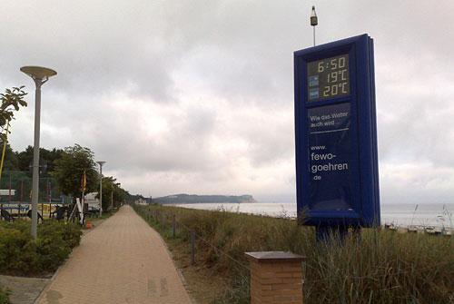 Bernsteinpromenade mit Temperaturanzeige