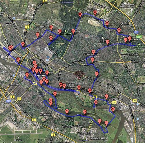 Karte der Strecke des Bremen-Marathon