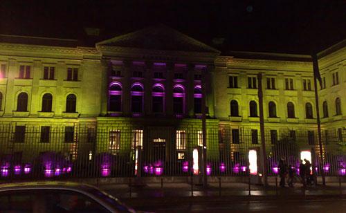 Licht-Installation am Bundesratsgebäude