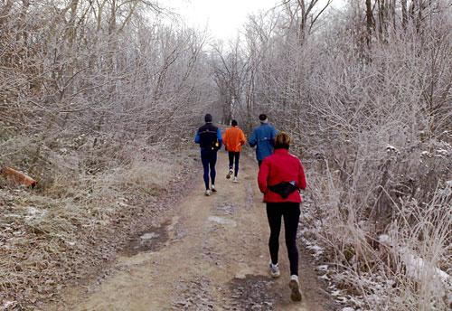 Läufer-Gruppe auf Waldweg