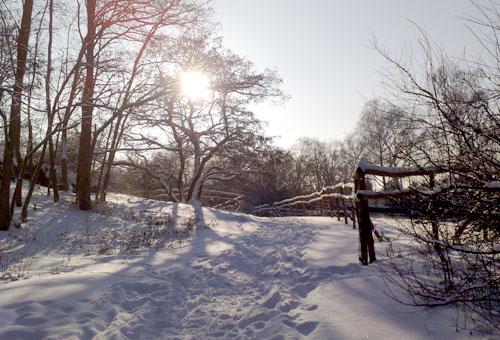 Verschneiter Weg im Freizeitpark