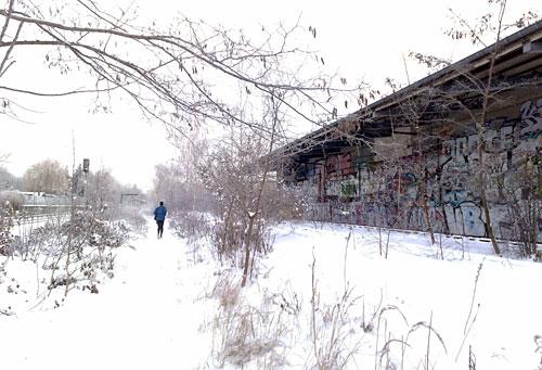 Läufer und Grafitti