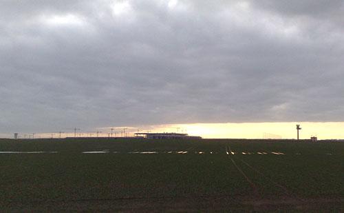 BBI-Baustelle bei Sonnenaufgang