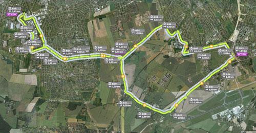Karte mit Lauf-Strecke zum Flughafen Schönefeld