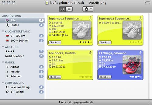 Screenshot Ausrüstungs-Erfassung rubiTrack