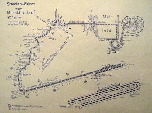 Grafik Marathon-Strecke 1936