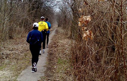 Läufer-Gruppe auf schmalem Weg