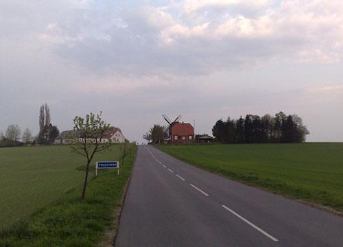 Ortschild Væggerløse und Stovby Mølle