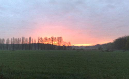 Sonnenaufgang über Feld