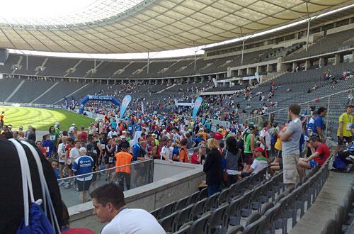 Ziel des 25-km-Laufs im Berliner Olympiastadion