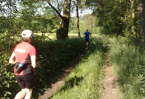 Läuferin und Läufer auf Weg durch den Wald