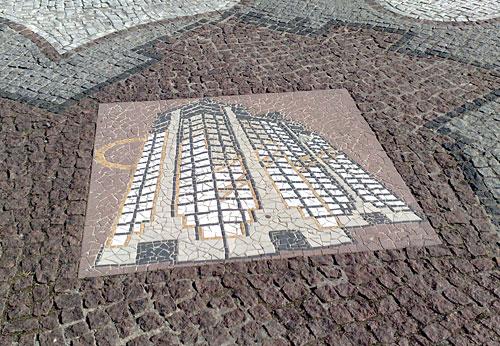 Mosaik, das ein Hochhaus darstellt