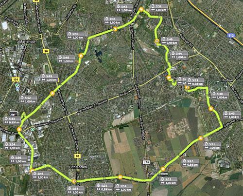 Streckenkarte Lauf über Britz, Rudow und Großziethen