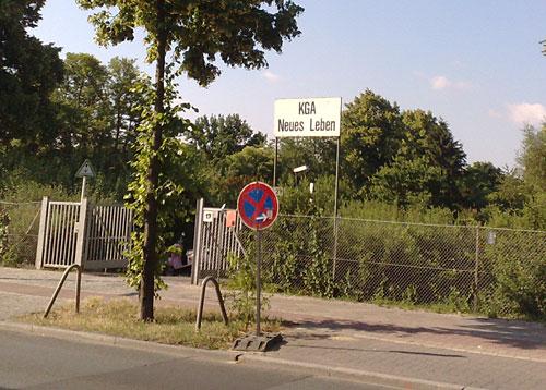 Schild Kleingartenanlage Neues Leben