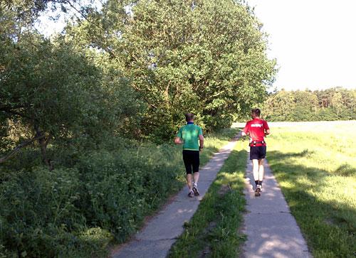 Läufer auf Plattenweg zwischen Bäumen und Feld