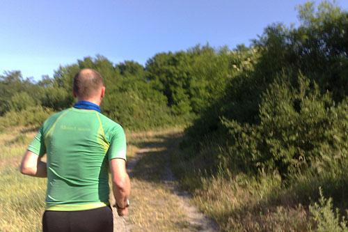Läufer läuft Anstieg auf schmalem Pfad hoch