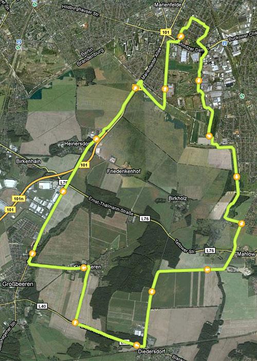 Karte mit Laufstrecke über Diedersdorf, Kleinbeeren und Großbeeren nach Marienfelde