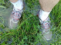 Läufer-Schuhe in tiefer Pfütze