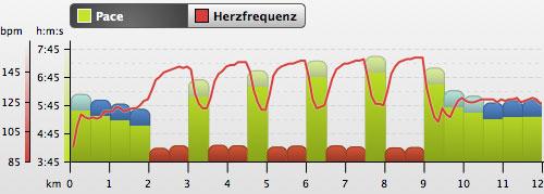 Grafik mit Pace und Herzfrequenz