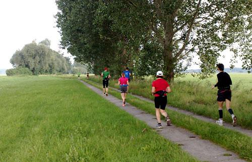 Läufer auf Plattenweg zwischen den Wiesen und Feldern