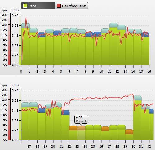 Grafik mit dem Lauftempo des langen Laufs