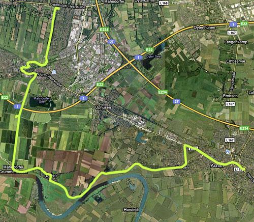 Karte mit Strecke des langen Laufs