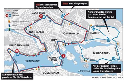 Karte Stockholm-Marathon 2012