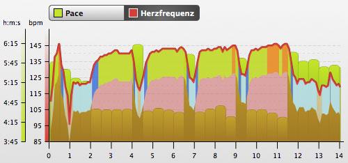 Grafik mit Herzfrequenz und Pace vom Intervall-Training