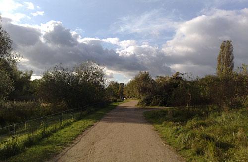 Parkweg mit sonnigem Wolkenhimmel
